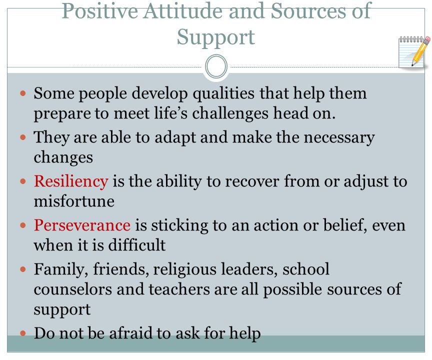 Positive Attitude and Sources of Support