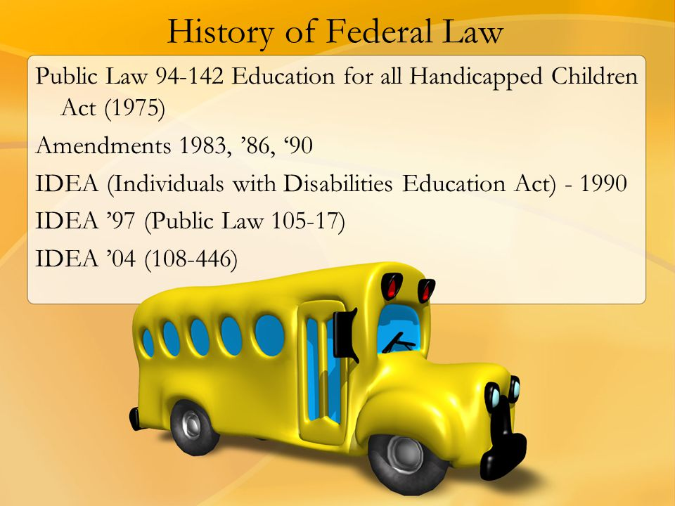 History of Federal Law Public Law 94-142 Education for all Handicapped Children Act (1975) Amendments 1983, '86, '90.