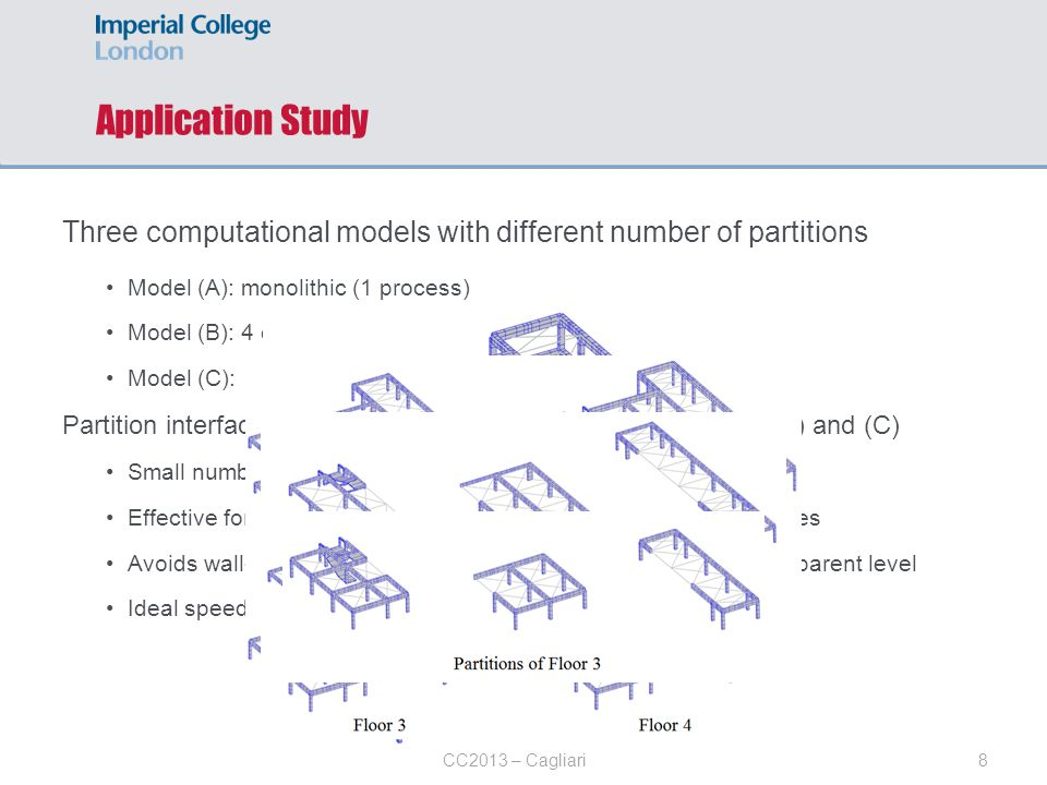 Application Study Three computational models with different number of partitions. Model (A): monolithic (1 process)
