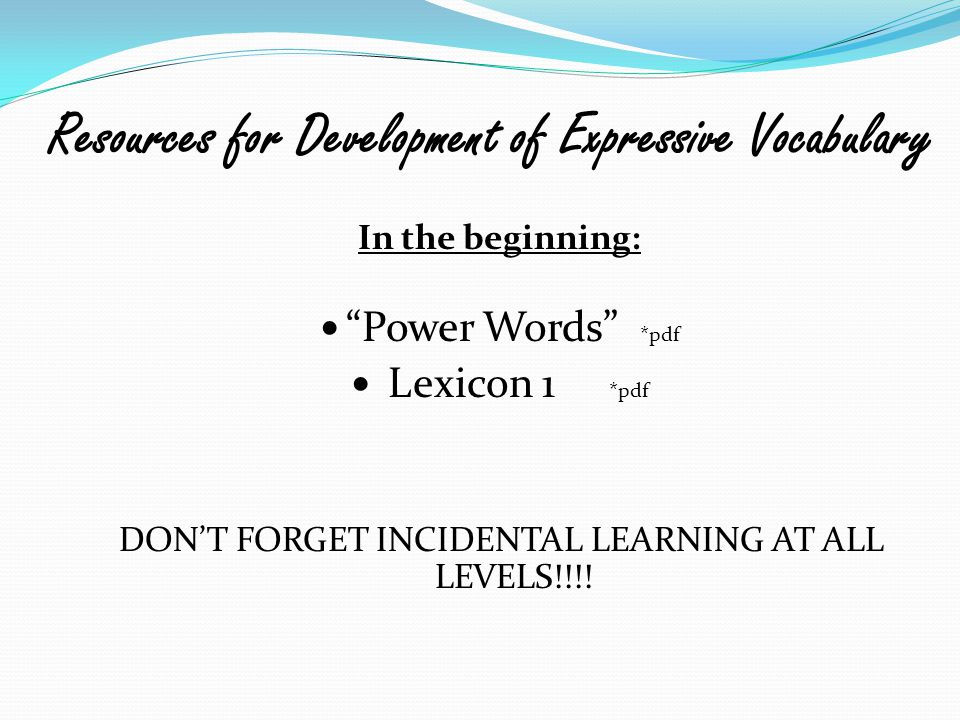 Resources for Development of Expressive Vocabulary