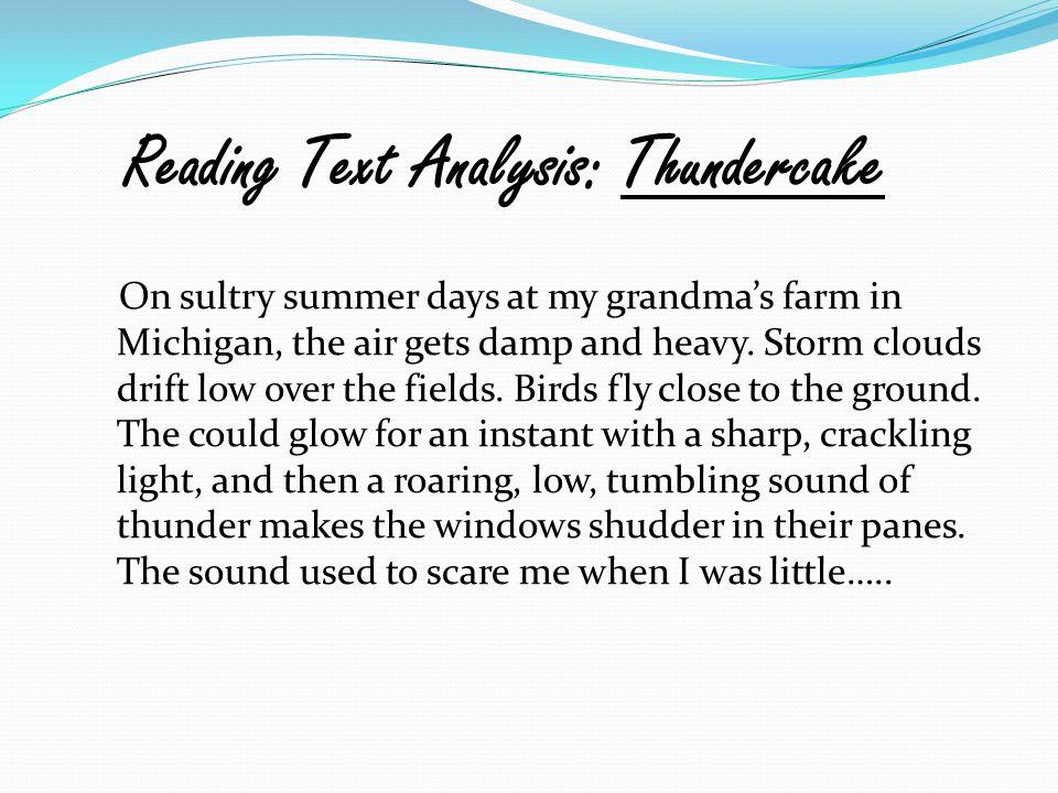 Reading Text Analysis: Thundercake