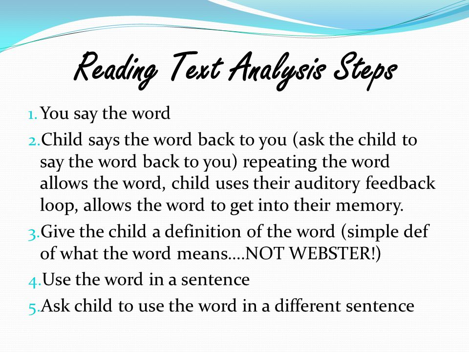 Reading Text Analysis Steps
