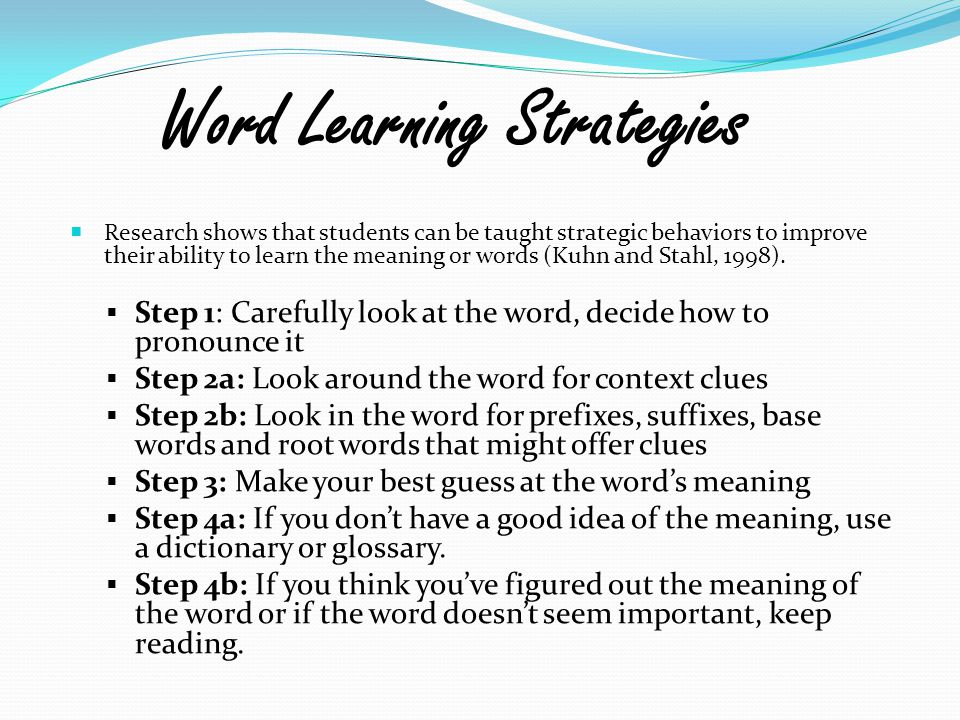 Word Learning Strategies