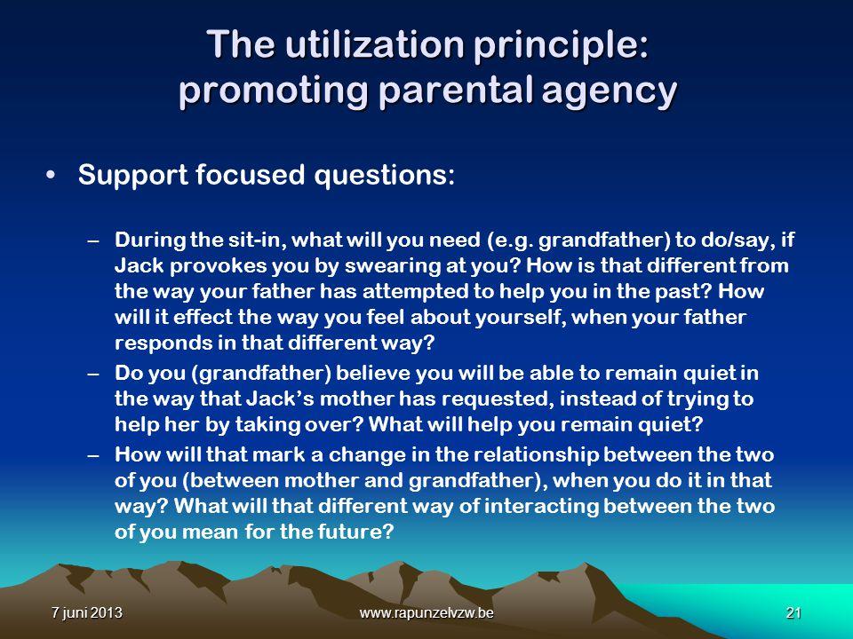 The utilization principle: promoting parental agency