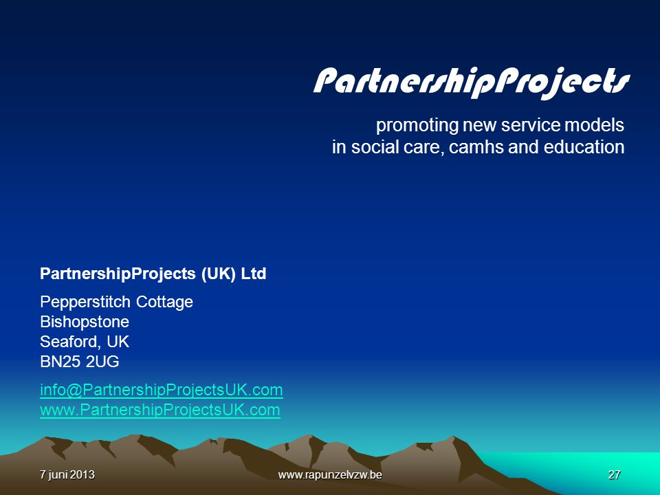PartnershipProjects promoting new service models