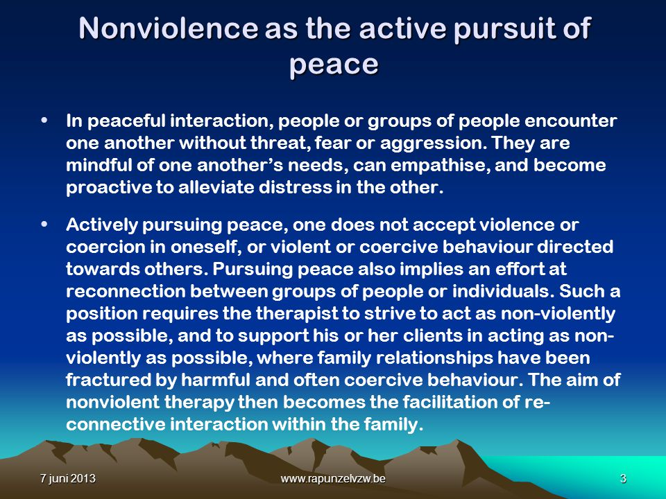 Nonviolence as the active pursuit of peace