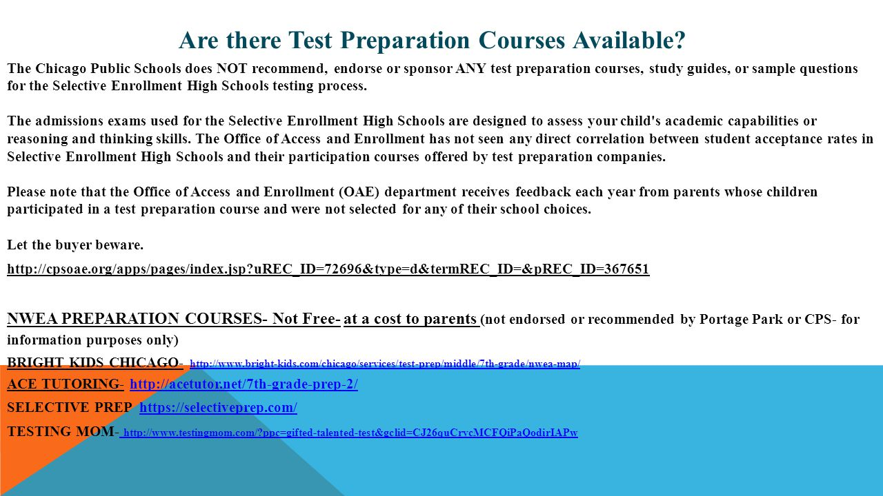 Are there Test Preparation Courses Available
