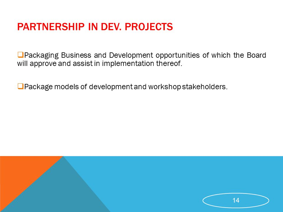 PARTNERSHIP IN DEV. PROJECTS
