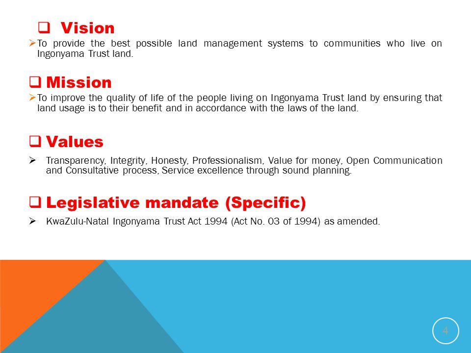 Legislative mandate (Specific)