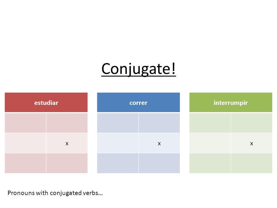 Conjugate! estudiar x correr x interrumpir x