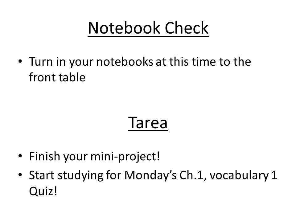 Notebook Check Turn in your notebooks at this time to the front table. Tarea. Finish your mini-project!