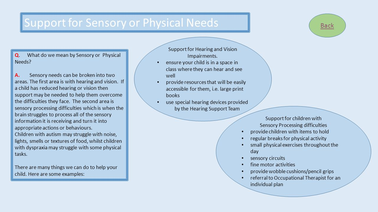 Support for Sensory or Physical Needs