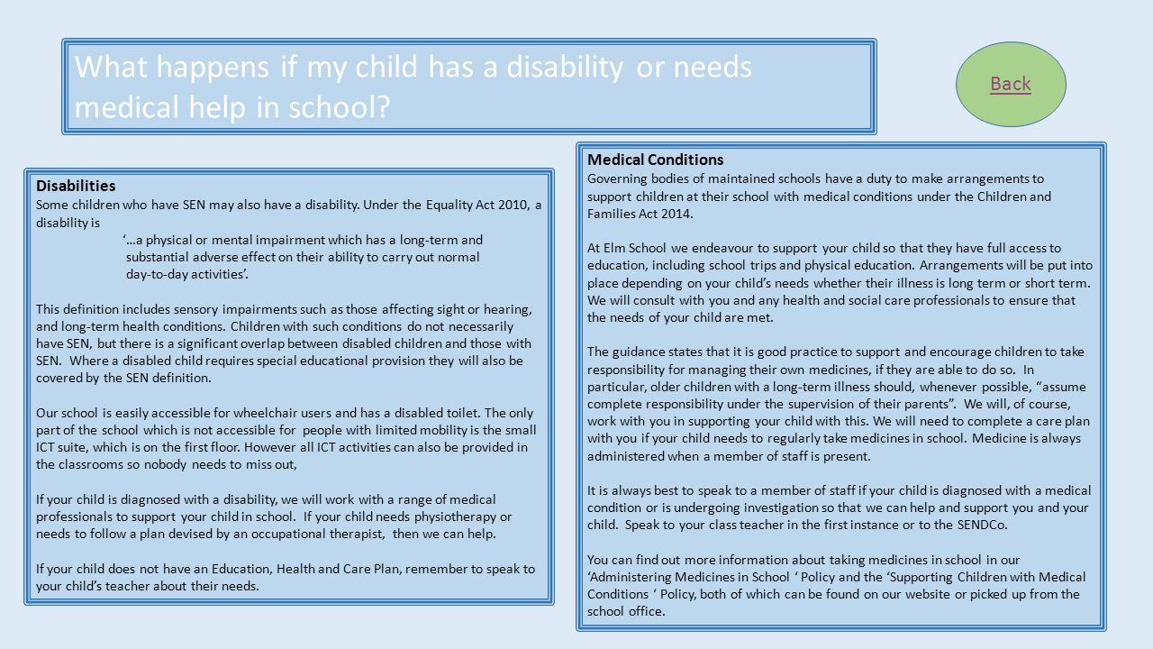 What happens if my child has a disability or needs