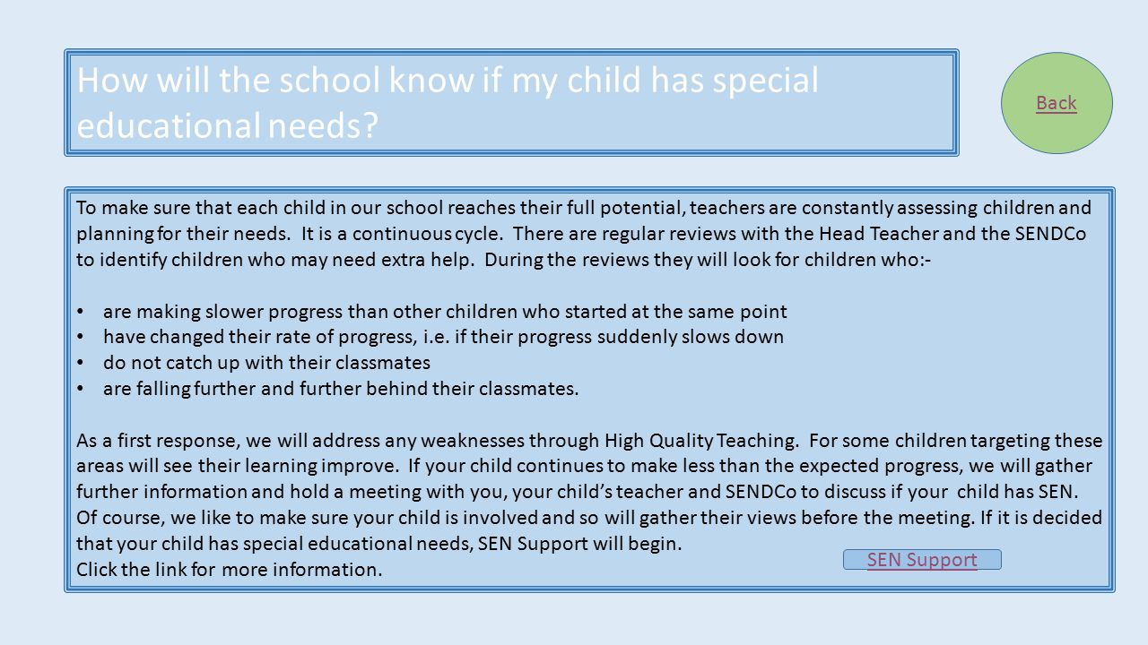 How will the school know if my child has special educational needs