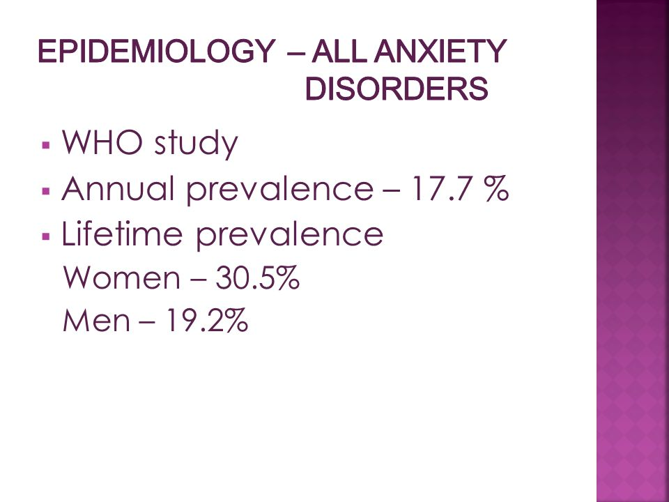 EPIDEMIOLOGY – all anxiety disorders