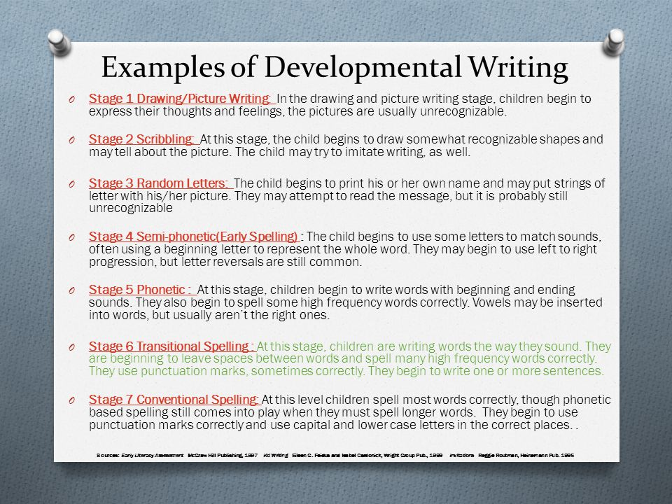 Examples of Developmental Writing