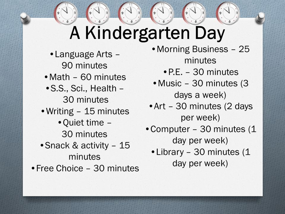 A Kindergarten Day Morning Business – 25 minutes Language Arts –