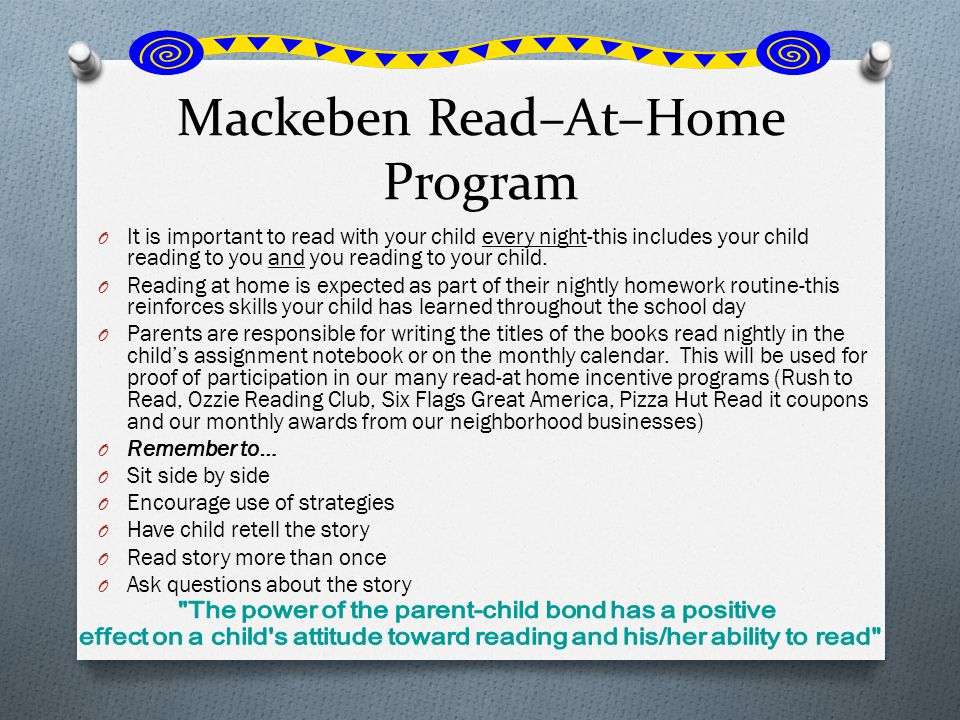 Mackeben Read–At–Home Program