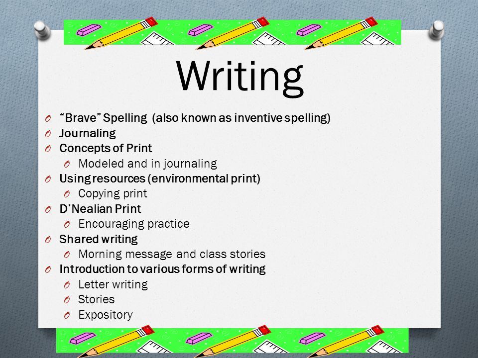 Writing Brave Spelling (also known as inventive spelling) Journaling