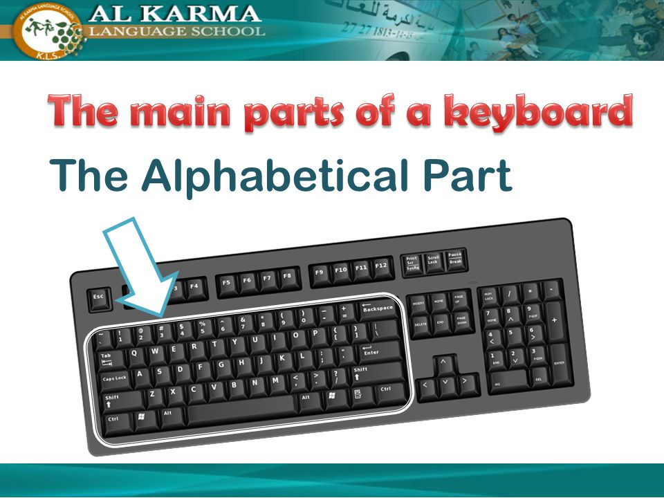 The main parts of a keyboard