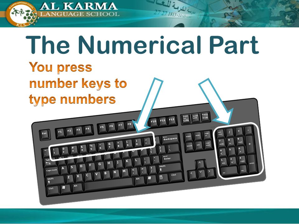 The Numerical Part You press number keys to type numbers