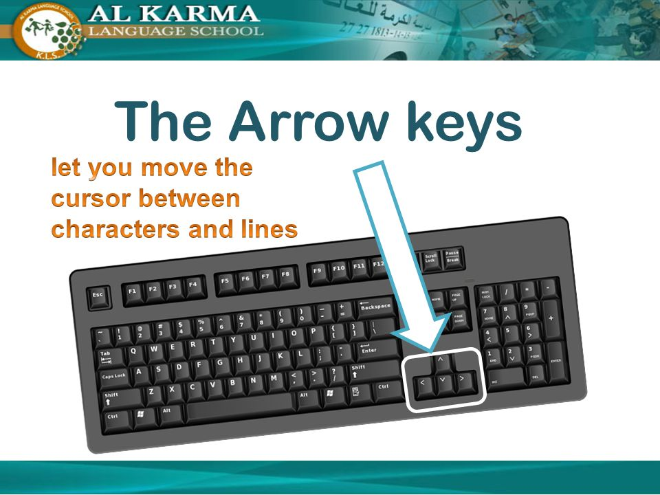 The Arrow keys let you move the cursor between characters and lines