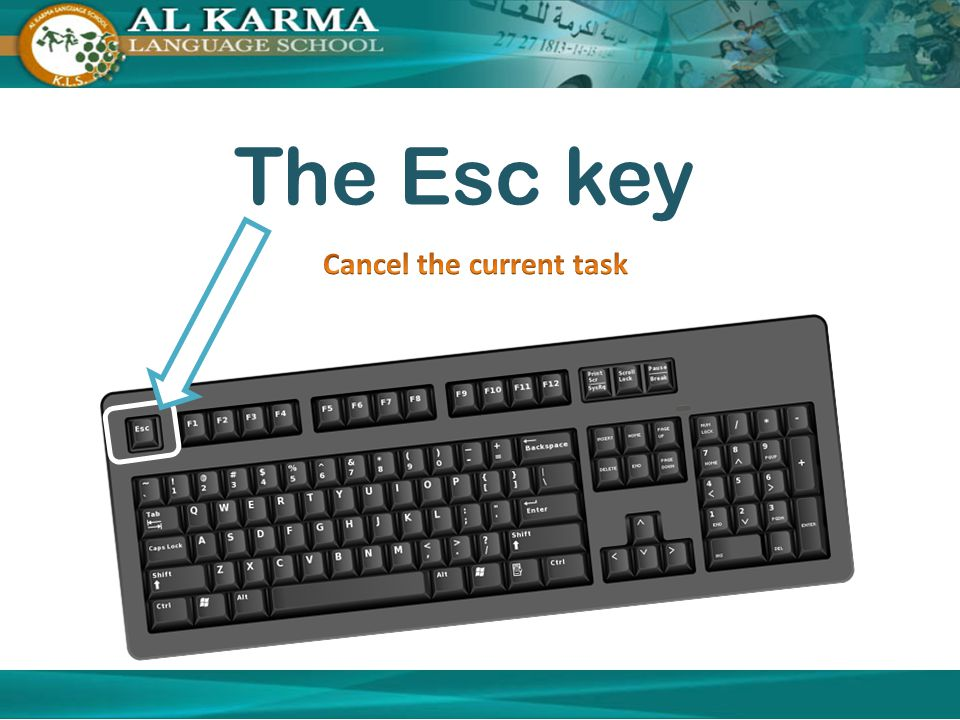 The Esc key Cancel the current task