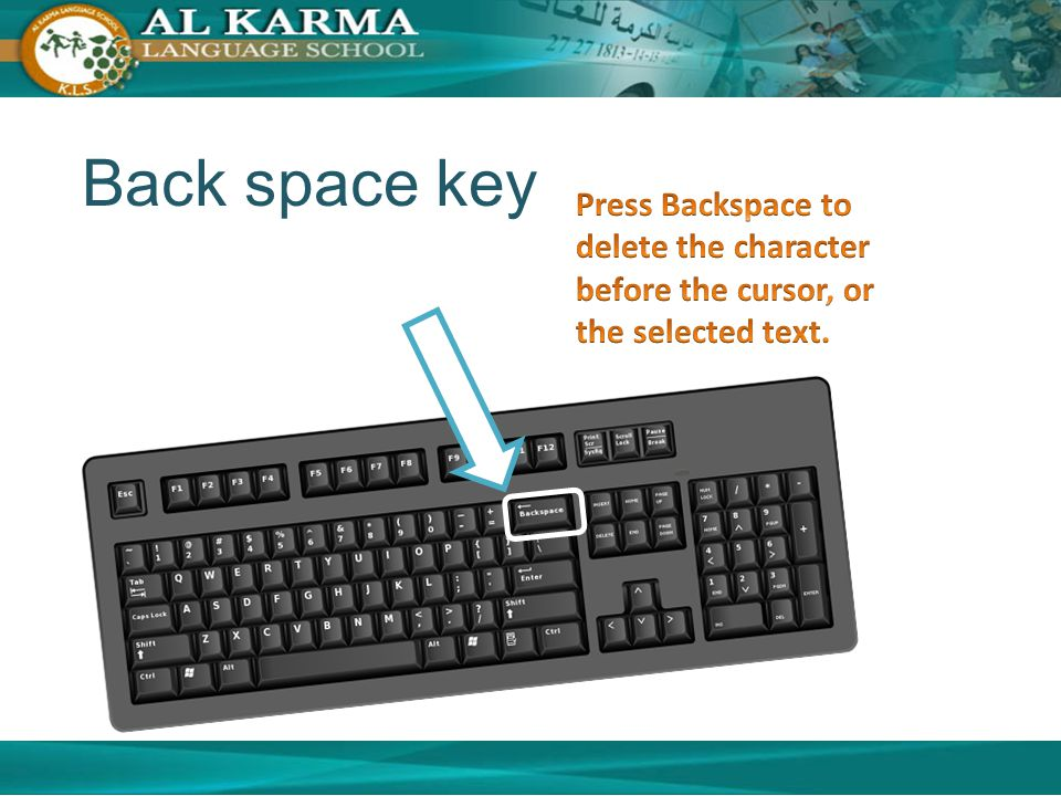 Back space key Press Backspace to delete the character before the cursor, or the selected text.