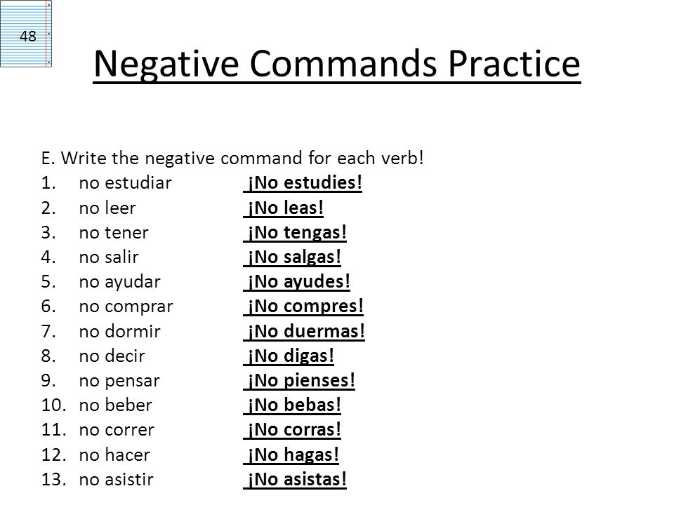 Decir Conjugation Negative Command