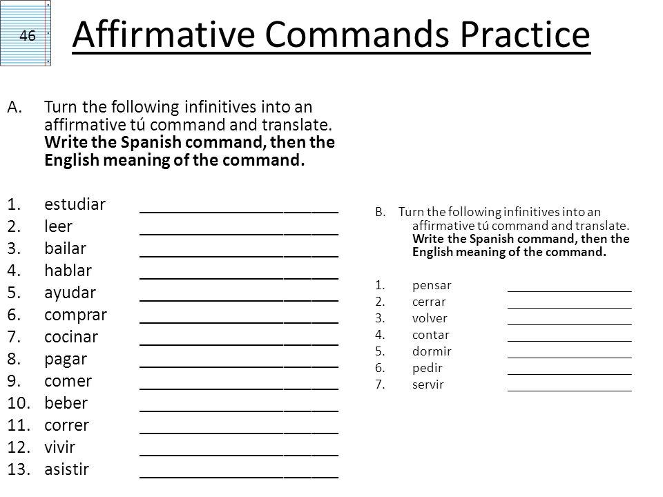 Affirmative Commands Practice