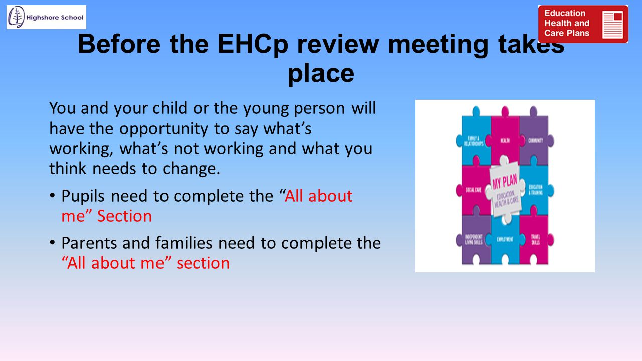 Before the EHCp review meeting takes place