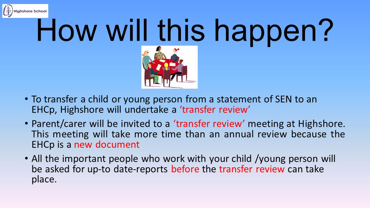 How will this happen To transfer a child or young person from a statement of SEN to an EHCp, Highshore will undertake a 'transfer review'