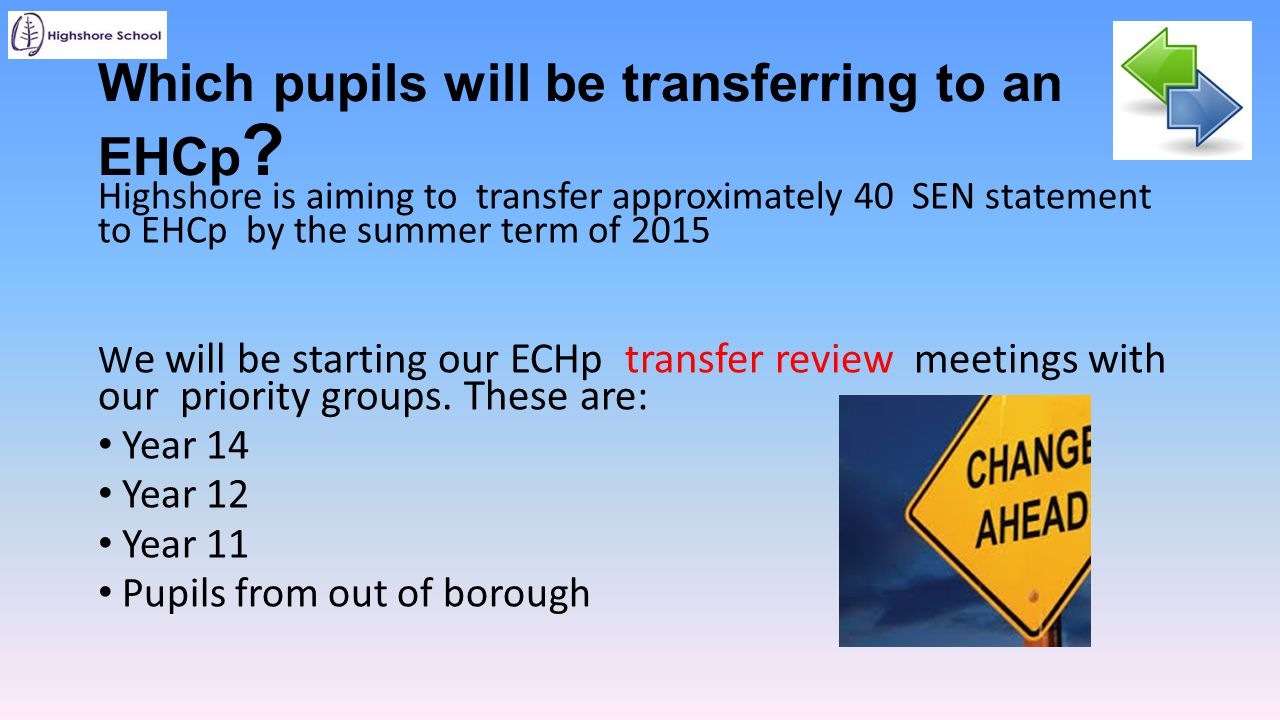 Which pupils will be transferring to an EHCp