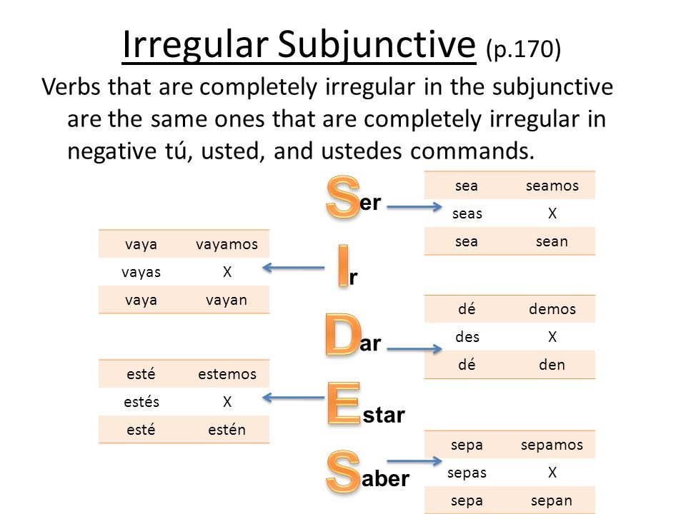 Irregular Subjunctive (p.170)