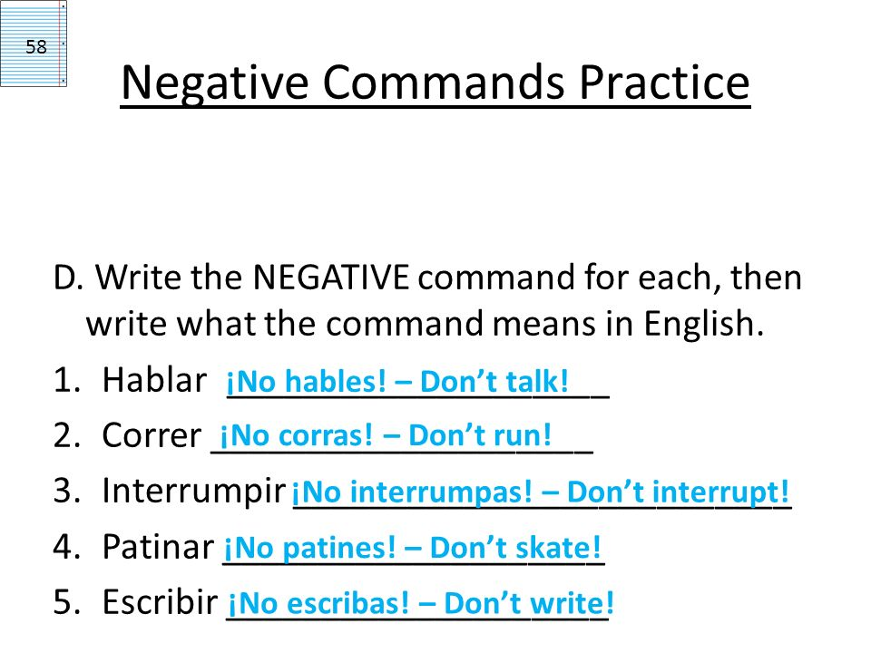 Negative Commands Practice