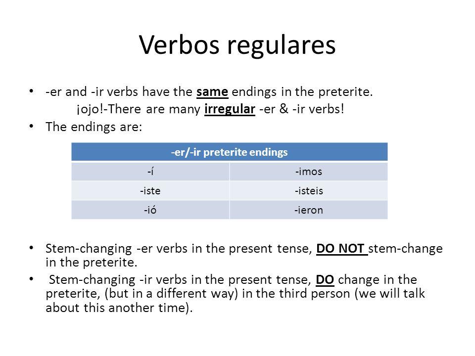 -er/-ir preterite endings