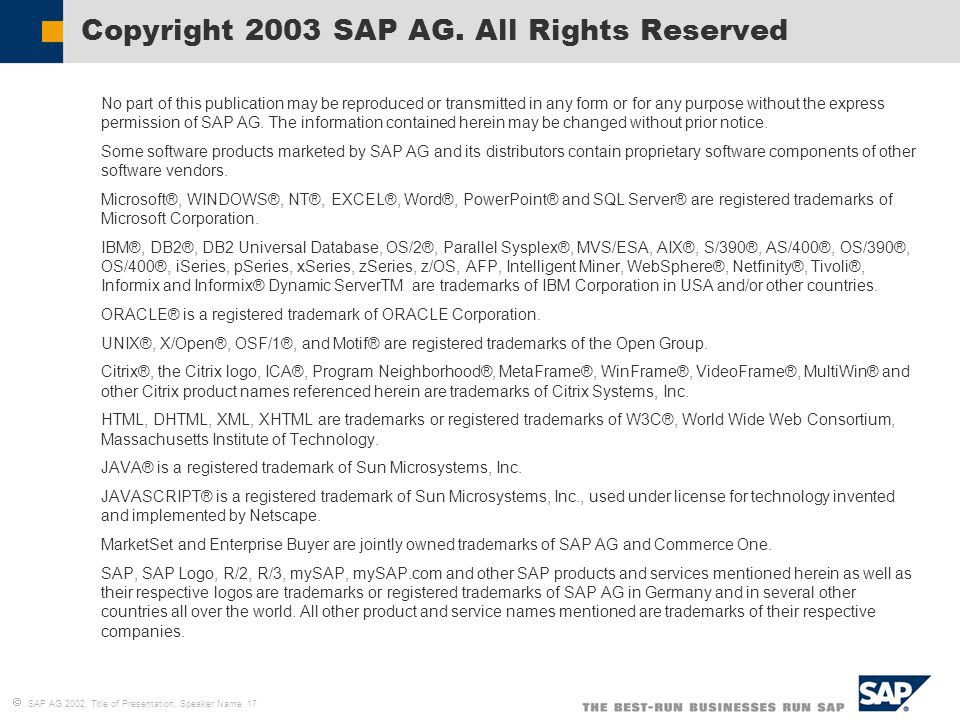 Copyright 2003 SAP AG. All Rights Reserved