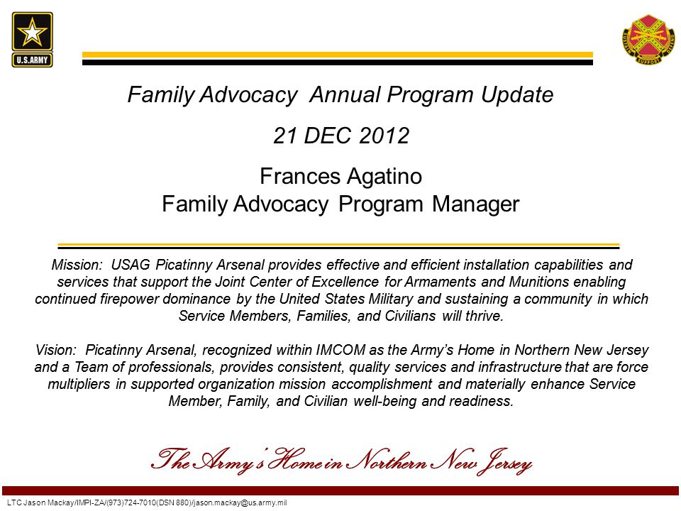 Family Advocacy Annual Program Update 21 DEC 2012 Frances Agatino