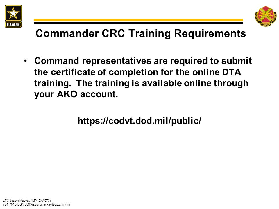 Commander CRC Training Requirements