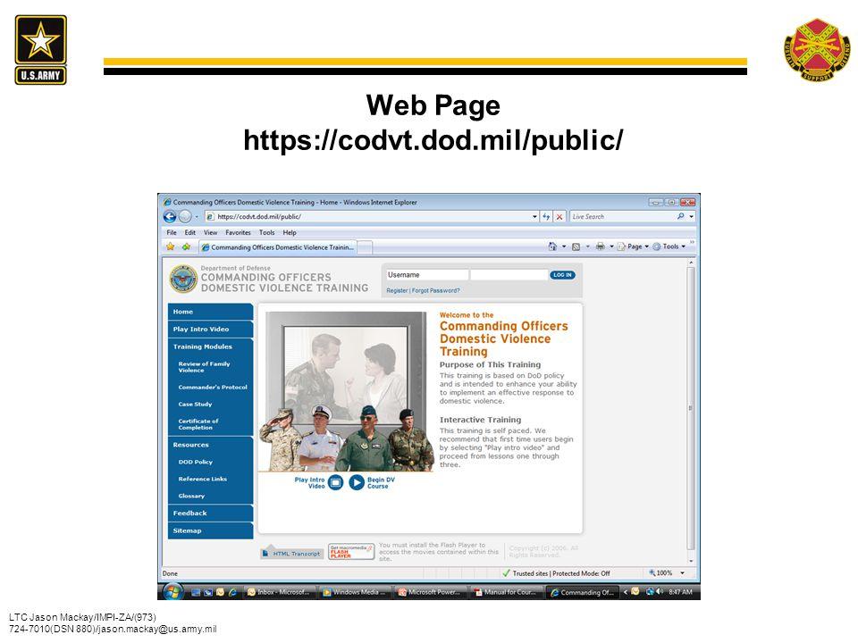 Web Page https://codvt.dod.mil/public/