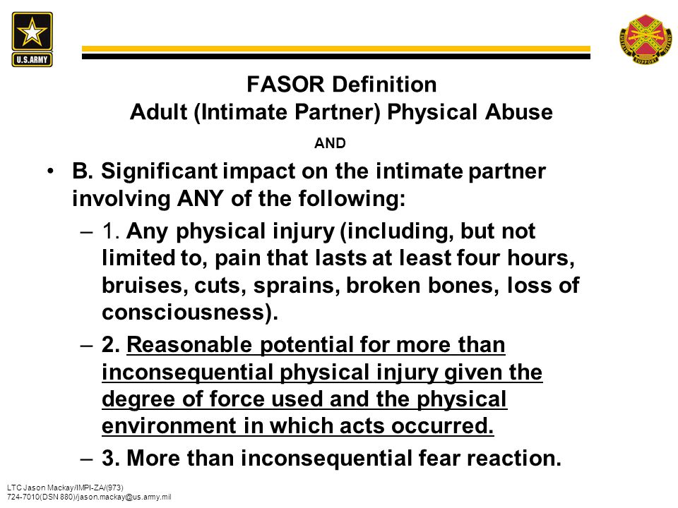 FASOR Definition Adult (Intimate Partner) Physical Abuse