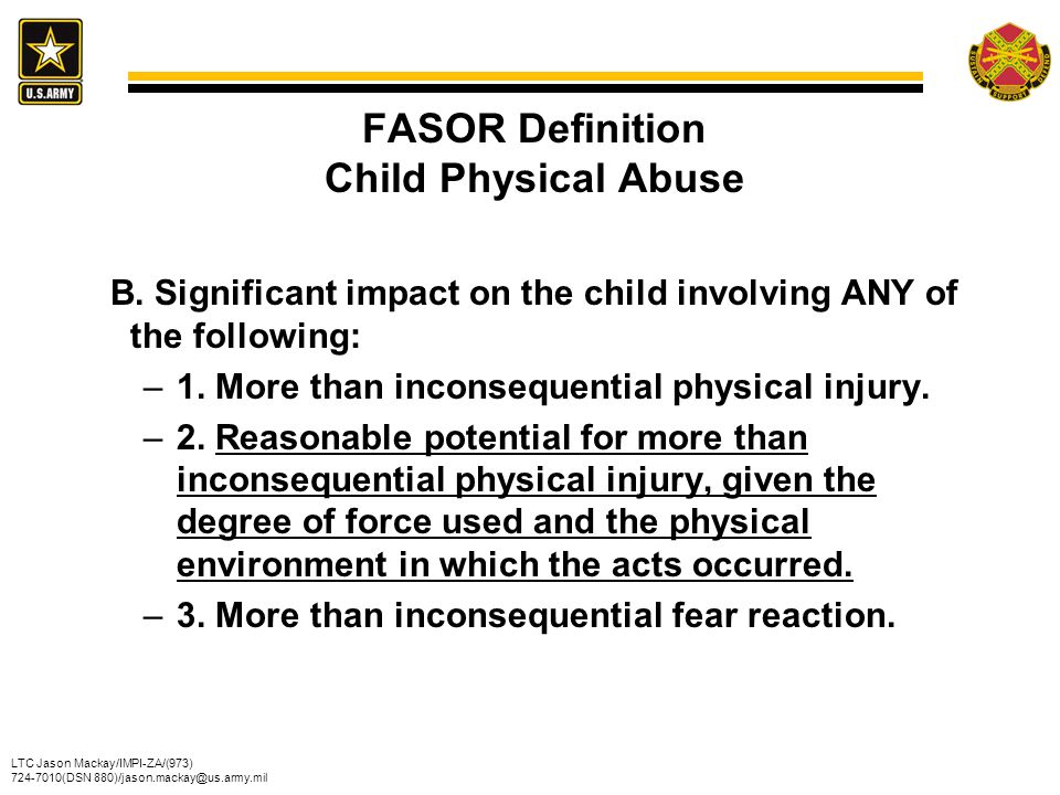 FASOR Definition Child Physical Abuse