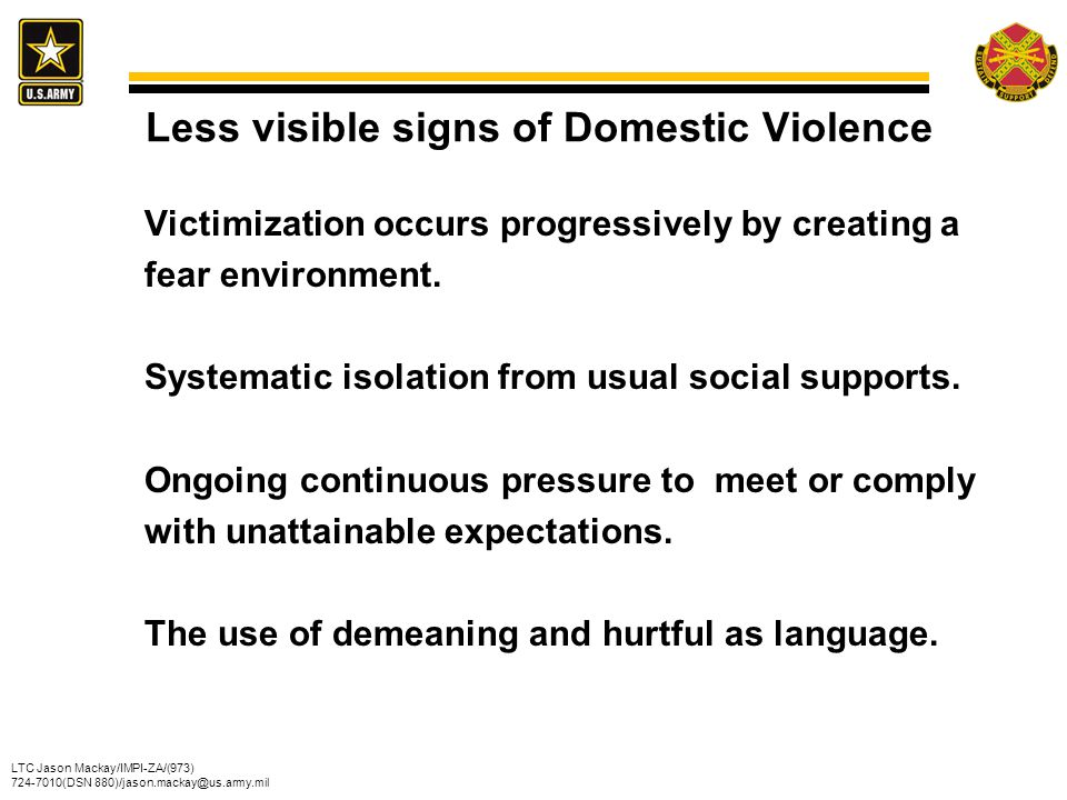 Less visible signs of Domestic Violence
