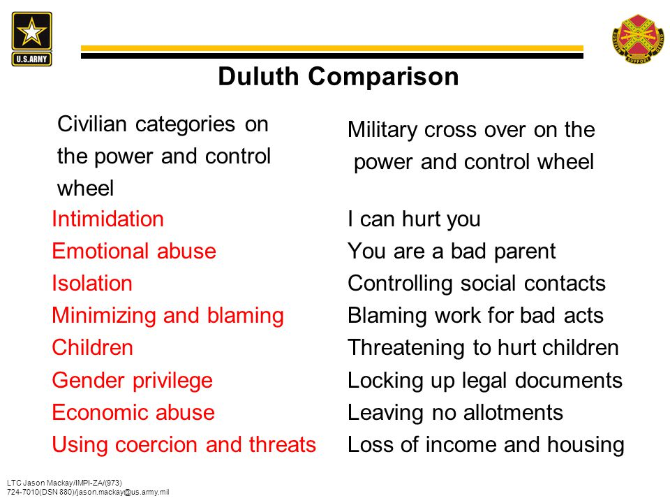 Duluth Comparison Civilian categories on the power and control wheel