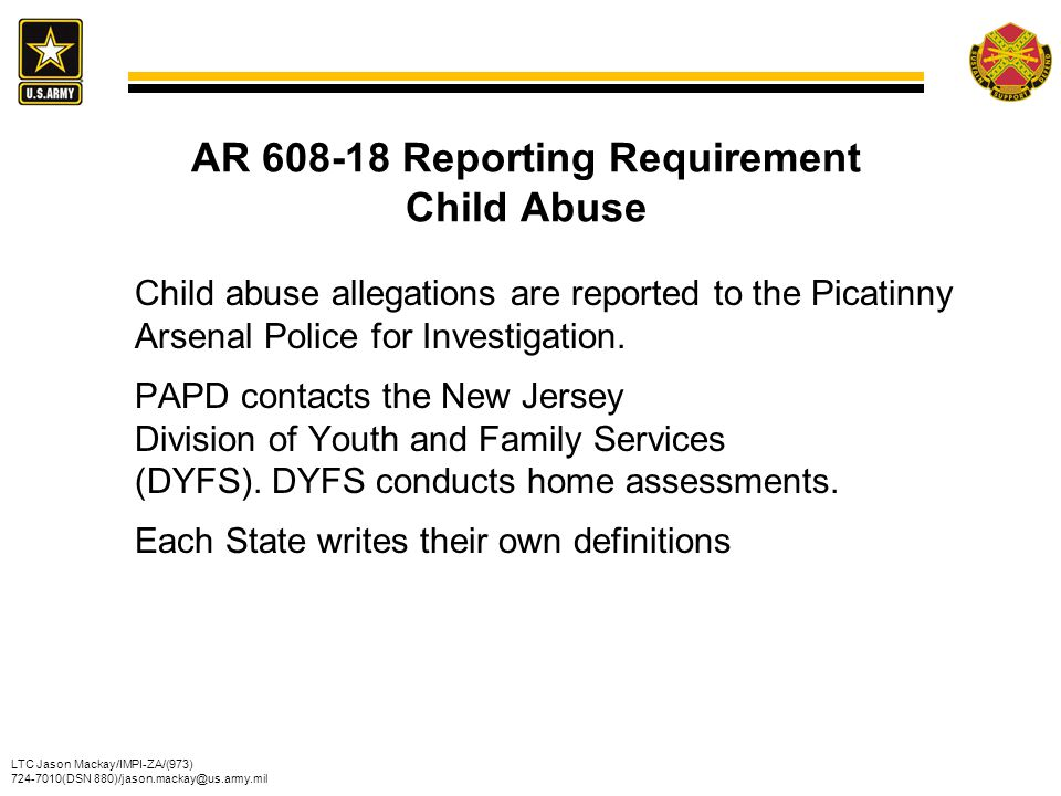 AR 608-18 Reporting Requirement Child Abuse