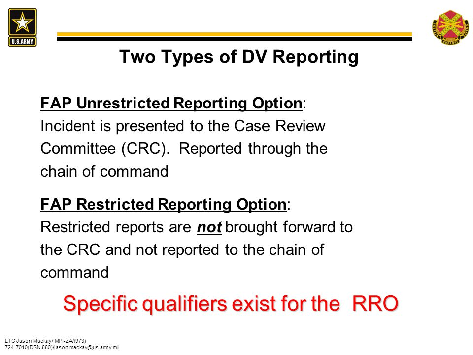 Two Types of DV Reporting