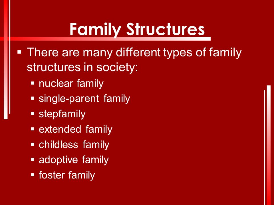 Family Structures There are many different types of family structures in society: nuclear family. single-parent family.