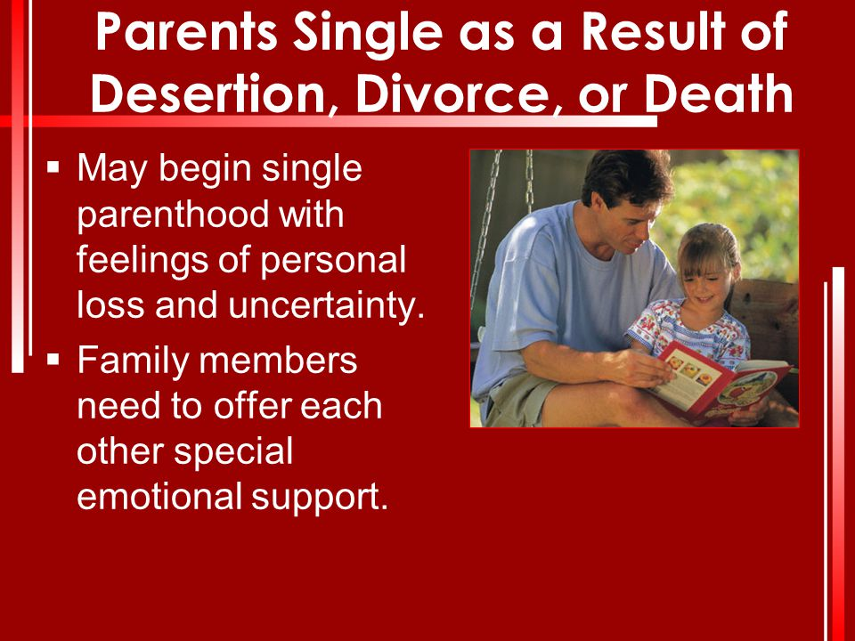 Parents Single as a Result of Desertion, Divorce, or Death