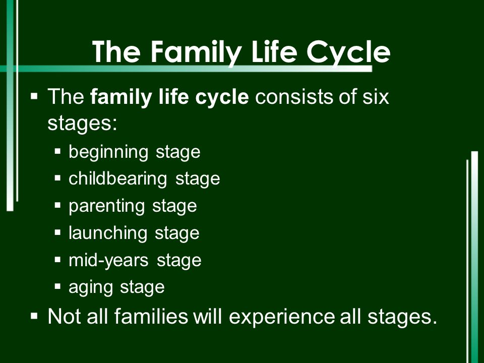 The Family Life Cycle The family life cycle consists of six stages: