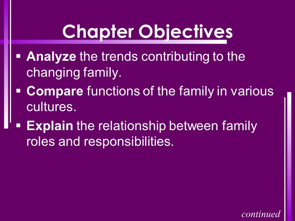 Chapter Objectives Analyze the trends contributing to the changing family. Compare functions of the family in various cultures.